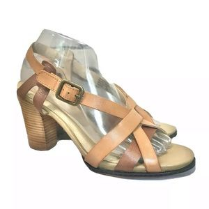 Levity Leather Canary High Heel Strappy Sandals 8